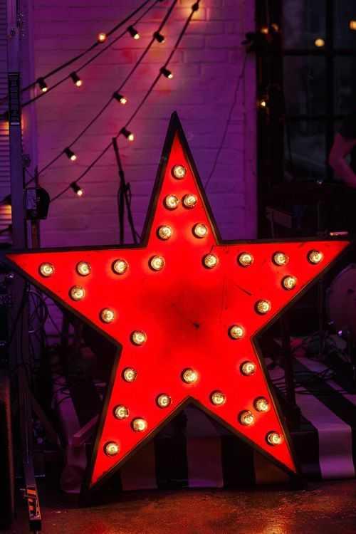 Взять в прокат Архитектура Фотозоны и задники Ретро звезда с лампочками; Москва , улица Главмосстроя, 14 ул.; Описание: Звезда с лампочками (30шт) Высота 1,5 м. Внутри звезда красная, контур и задняя часть черная.
