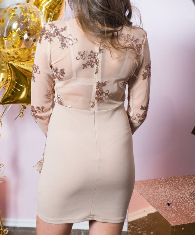 Взять в прокат Женская одежда Платья Облегающее мини с аппликацией; Санкт-Петербург , Конюшенная площадь, 2В ул.; Описание: