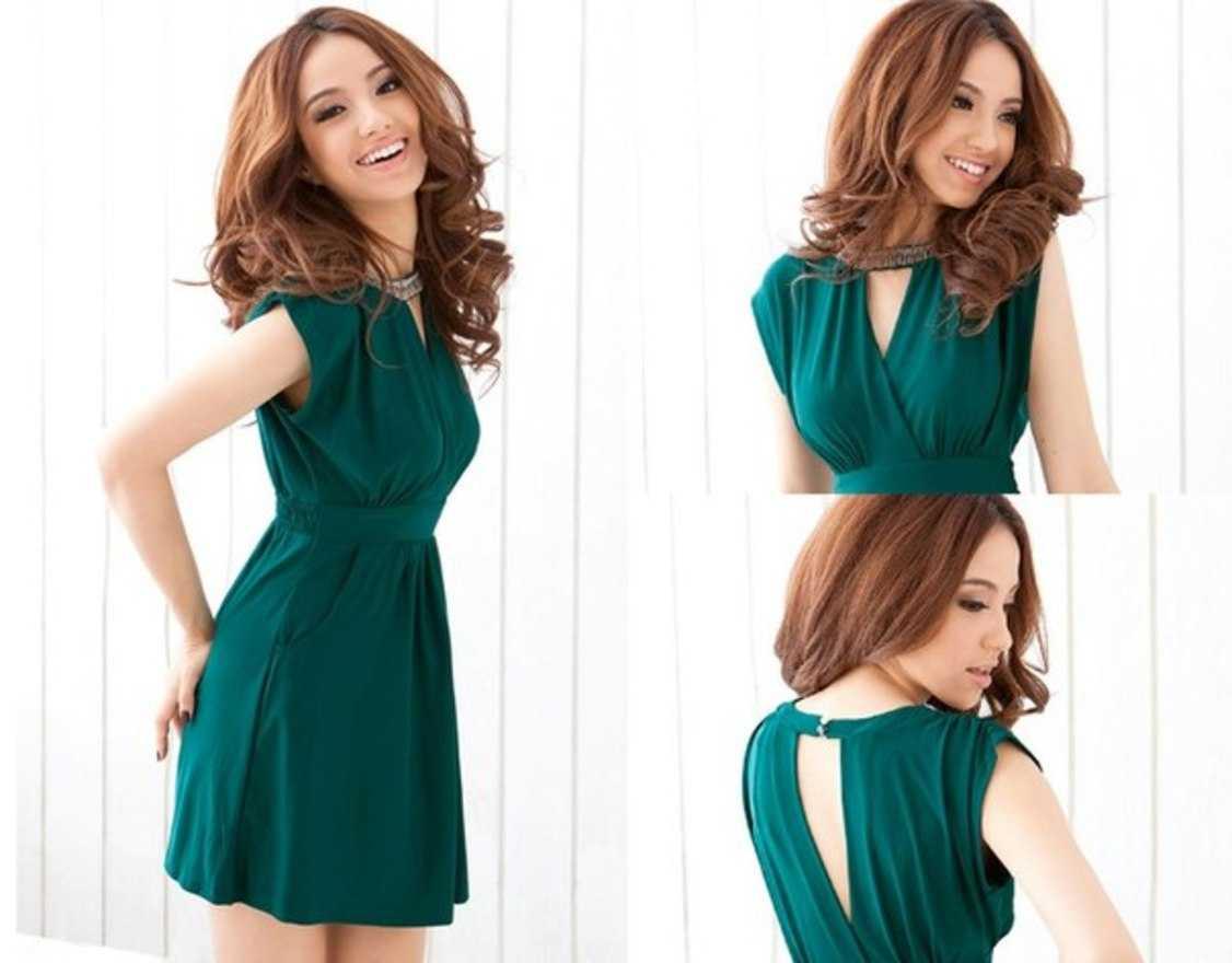 Платья короткие изумрудного цвета