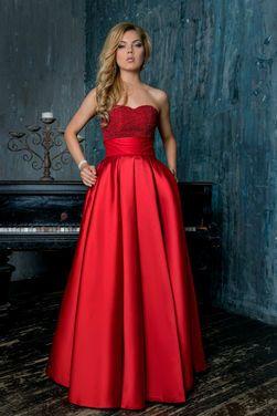 Платья Атласное вечерне-бальное платье напрокат   Аренда и прокат – Москва