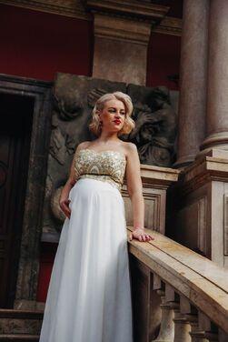 Платья Белое платье расшитое золотом напрокат | Аренда и прокат – Санкт-Петербург