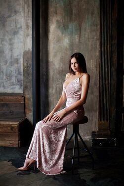 Платья Персиковое бархатное платье напрокат | Аренда и прокат – Москва
