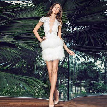 Платья Коктейльное белое мини с перьями напрокат | Аренда и прокат – Москва