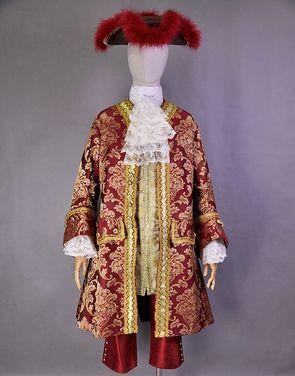 Исторические костюмы Камзол 18 века   бордовый напрокат   Аренда и прокат – Москва