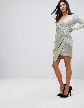 Платья Серебряное платье с запахом  напрокат | Аренда и прокат – Санкт-Петербург