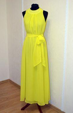 Платья Жёлтое вечернее платье с поясом напрокат | Аренда и прокат – Самара
