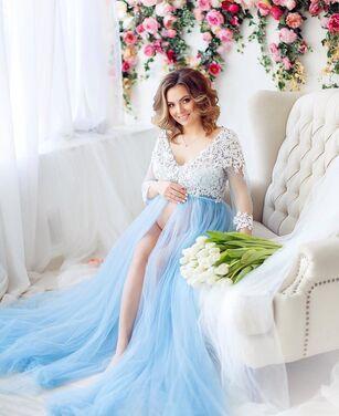 Платья Голубое будуарное платье напрокат | Аренда и прокат – Санкт-Петербург