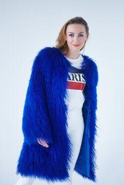 Верхняя одежда Шуба синяя из ламы напрокат | Аренда и прокат – Москва