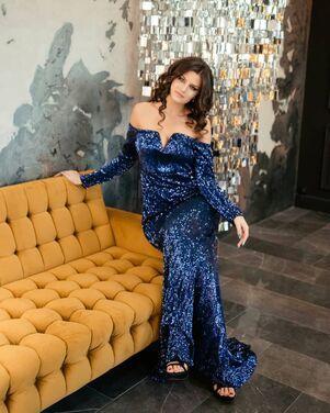 Платья Синее платье в пайетках  напрокат | Аренда и прокат – Санкт-Петербург
