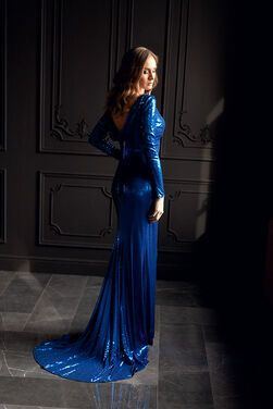 Платья Платье синее в пайетках со шлейфом напрокат | Аренда и прокат – Санкт-Петербург