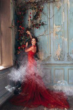 Платья Эффектное красное платье со шлейфом напрокат | Аренда и прокат – Санкт-Петербург