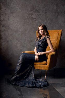 Платья Платье сине-золотое со шлейфом напрокат | Аренда и прокат – Санкт-Петербург