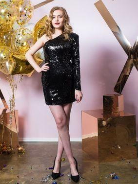Платья Черное блестящее  с открытым плечом напрокат | Аренда и прокат – Санкт-Петербург
