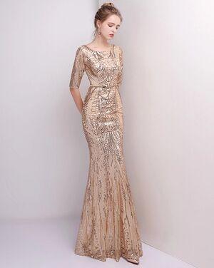 Платья Вечернее платье золотистое напрокат | Аренда и прокат – Санкт-Петербург