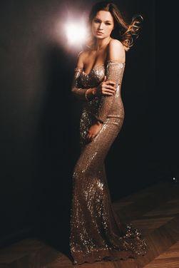 Платья Золотое вечернее платье в пайетках напрокат | Аренда и прокат – Санкт-Петербург