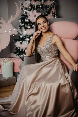 Платья Бежевое вечернее платье напрокат | Аренда и прокат – Москва