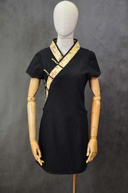 Национальные костюмы Китайская черная туника с золотом напрокат | Аренда и прокат – Москва