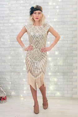 Платья Платье Гетсби светлое  с золотом напрокат | Аренда и прокат – Пушкино