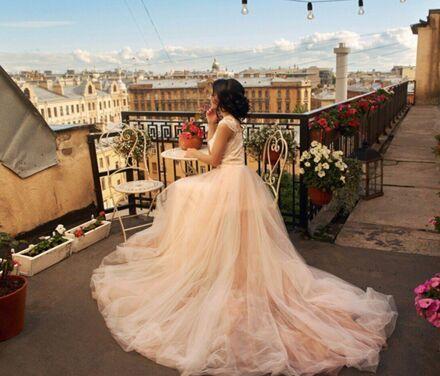 Платья Нежно-розовое платье с шлейфом напрокат | Аренда и прокат – Санкт-Петербург