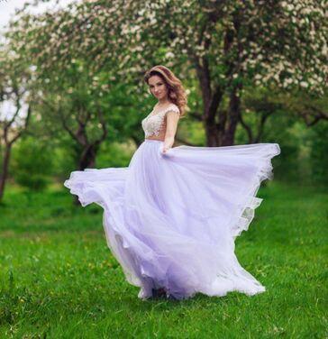 Платья Нежно-фиолетовое платье с шлейфом напрокат | Аренда и прокат – Санкт-Петербург