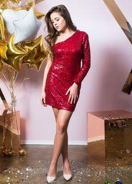 Платья Красное блестящее на одно плечо напрокат | Аренда и прокат – Санкт-Петербург