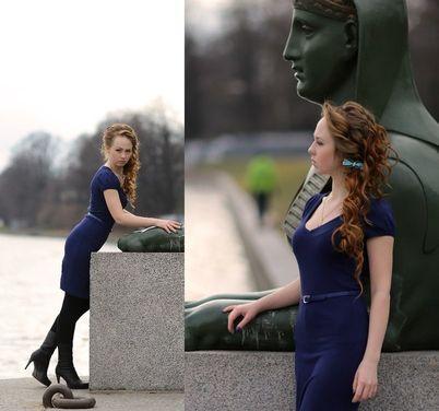 Платья Темно-синее платье с тонким поясом напрокат | Аренда и прокат – Санкт-Петербург