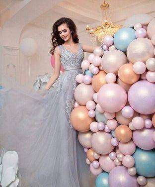 Платья Серое бальное платье 021 напрокат | Аренда и прокат – Москва