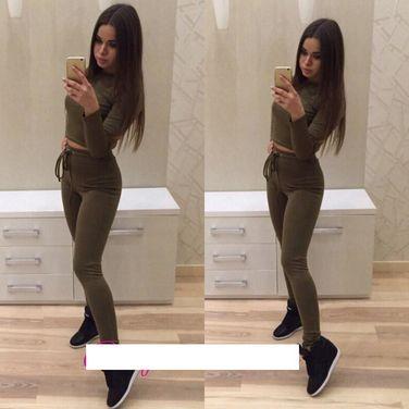 Одежда Спортивная Костюм хаки коричневый топ легинсы напрокат | Аренда и прокат – Москва